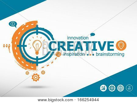Creative And Marketing Concept On Target Icon Background.