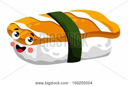Cute sushi roll cartoon character isolated on white background vector illustration. Funny japanese sushi with salmon emoticon face icon. Happy smile cartoon face food, comical sashimi animated mascot