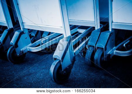 row of luggage cart in airport of Hong KongChina.