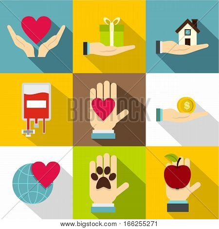 Philanthropy icons set. Flat illustration of 9 philanthropy vector icons for web