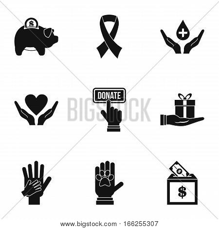 Charity icons set. Simple illustration of 9 charity vector icons for web
