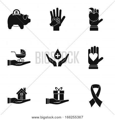 Philanthropy icons set. Simple illustration of 9 philanthropy vector icons for web