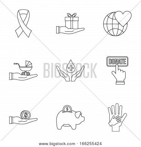 Patronage icons set. Outline illustration of 9 patronage vector icons for web