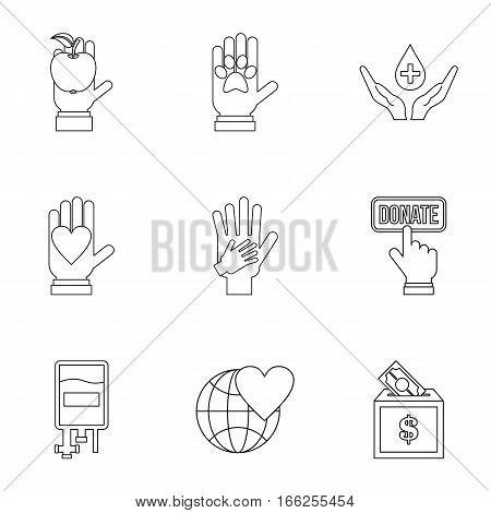 Sponsorship icons set. Outline illustration of 9 sponsorship vector icons for web