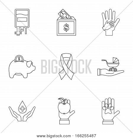 Philanthropy icons set. Outline illustration of 9 philanthropy vector icons for web