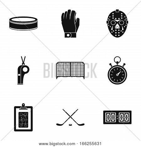Ice fight icons set. Simple illustration of 9 ice fight vector icons for web