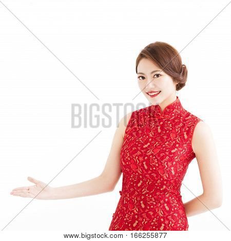 happy chinese new year woman with welcome gesture