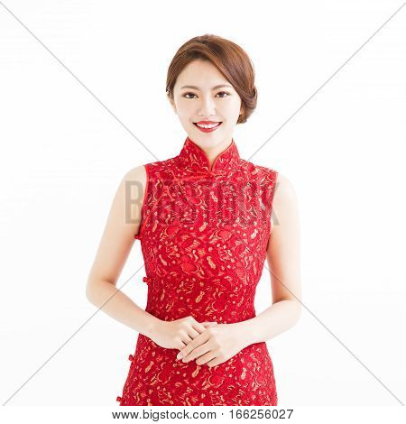 happy chinese new year beautiful smiling young woman