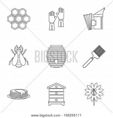 Honey production icons set. Outline illustration of 9 honey production vector icons for web