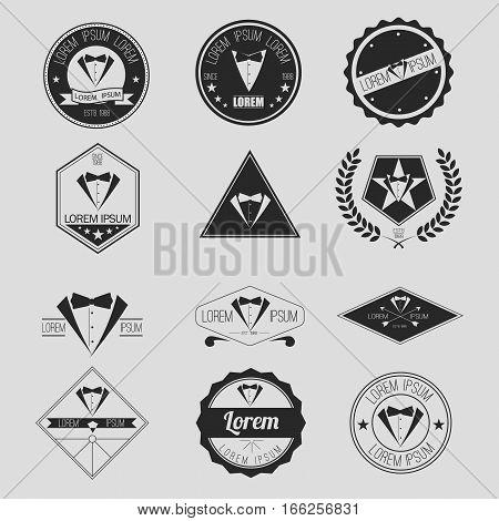 Set of Tuxedo or Jacket Hipster Emblems, Logos, Icons, or Badges
