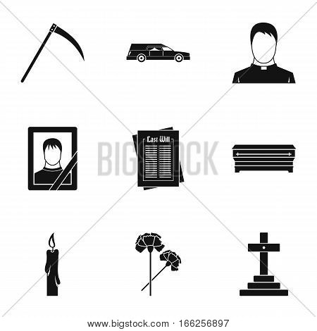 Burial icons set. Simple illustration of 9 burial vector icons for web