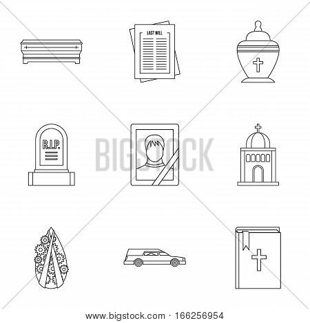 Death icons set. Outline illustration of 9 death vector icons for web