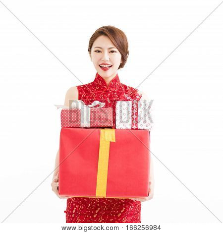 happy chinese new year. young woman holding gift box