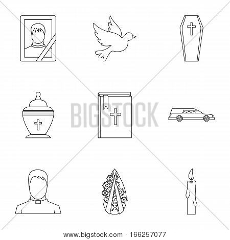 Death of person icons set. Outline illustration of 9 death of person vector icons for web