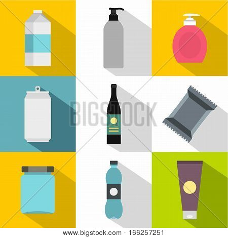 Pack icons set. Flat illustration of 9 pack vector icons for web