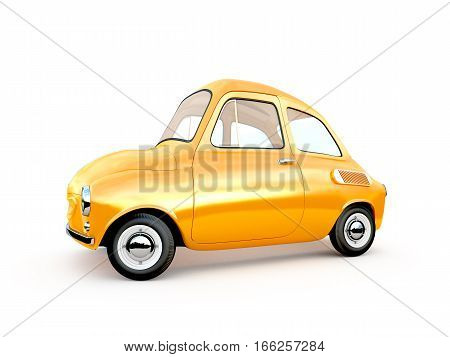 cartoon car on white background. 3D rendering
