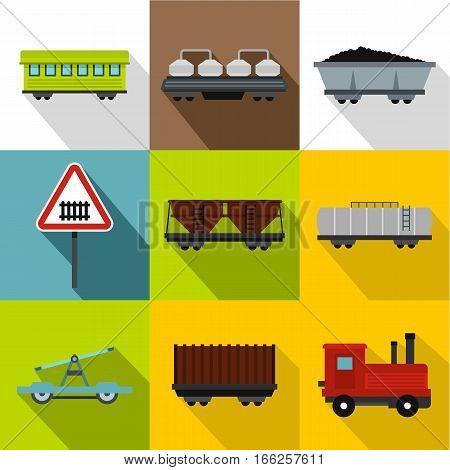 Railway transport icons set. Flat illustration of 9 railway transport vector icons for web