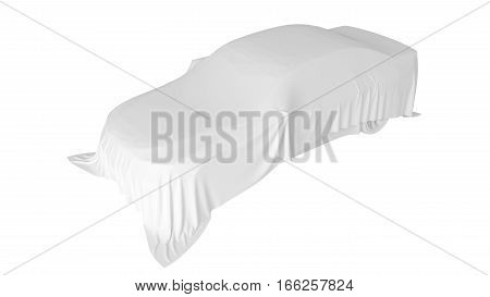 Presentation of the new car. Car covered with a white cloth. 3D rendering