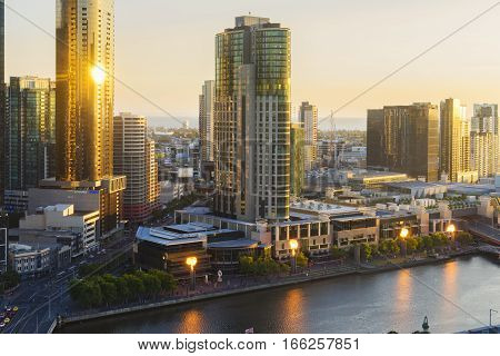 Melbourne, Australia - Nov 28, 2016: View of Southbank and fire display of Crown Casino at sunset