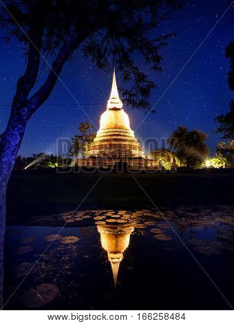 Golden Temple At Night Sky In Thailand