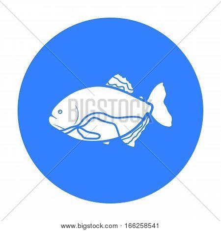 Piranha fish icon blue. Singe aquarium fish icon from the sea, ocean life black.