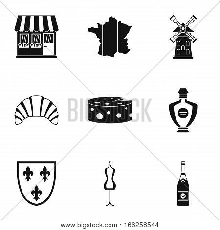France icons set. Simple illustration of 9 France vector icons for web
