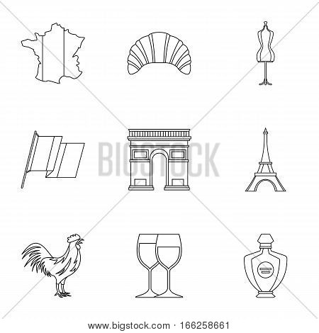 France icons set. Outline illustration of 9 France vector icons for web
