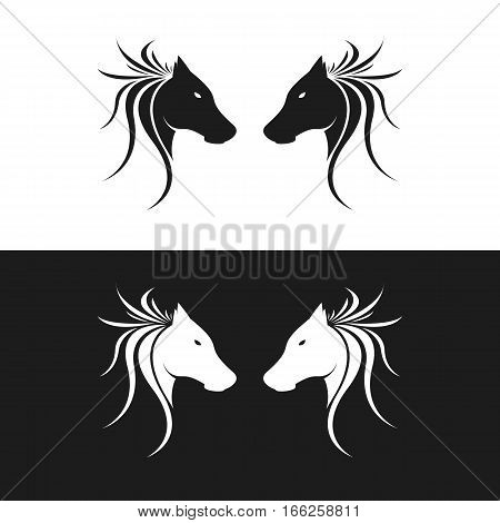 Twin or Two Horse Silhouette Logo. Isolated.