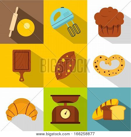 Sweet pastries icons set. Flat illustration of 9 sweet pastries vector icons for web