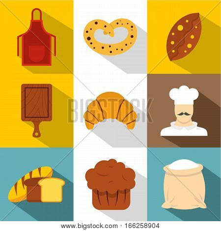 Pastries icons set. Flat illustration of 9 pastries vector icons for web