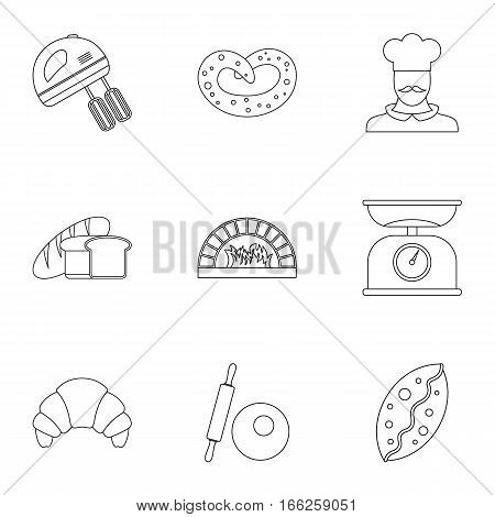 Bakery icons set. Outline illustration of 9 bakery vector icons for web