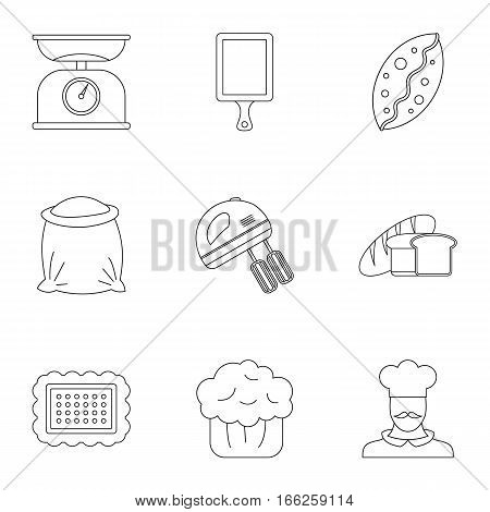 Pastries icons set. Outline illustration of 9 pastries vector icons for web