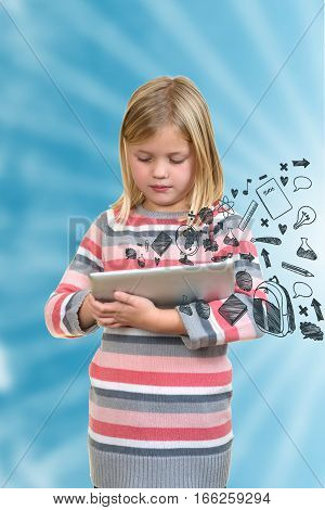 little standing girl with tablet with icons on screen