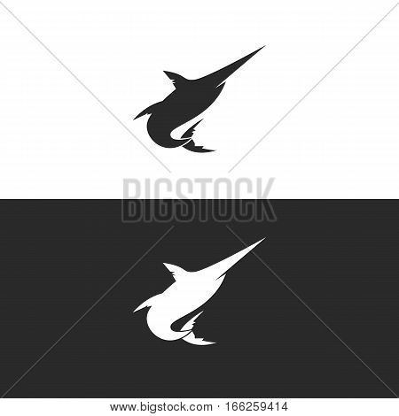 Marlin Fish Silhouette Logo or Icon. Isolated.