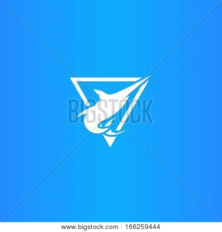 Marlin Fish Logo or Emblem or Badge Isolated in Blue Background