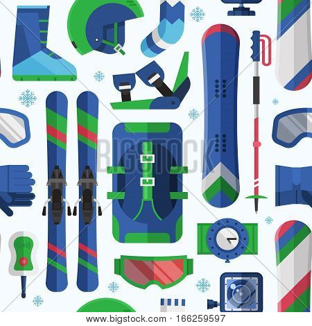 Winter lifestyle seamless background with skiing and snowboarding equipment. Winter sports pattern with snow activity icons including snowboard, ski, goggles. Extreme sport and activity gear texture.