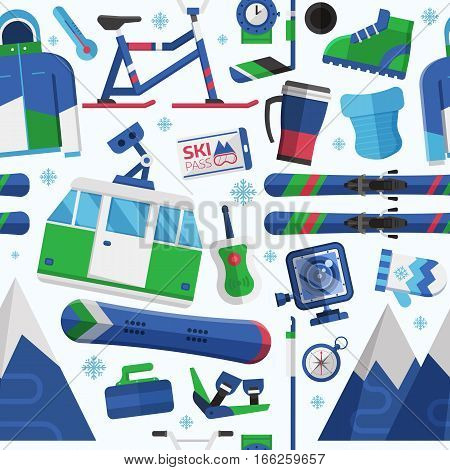 Winter lifestyle seamless background with skiing and snowboarding equipment. Winter sports pattern with ski resort icons including snowboard, skis, snow-bike. Extreme sport and activity texture.