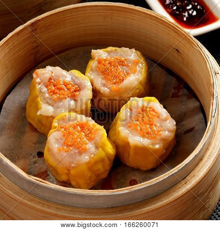 Shrimp Siu Mai N Bamboo Steamer, A Favorite Chinese Snack