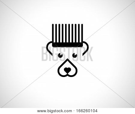 Abstract bear Logo Design Template. Emblem from Black Lines. Monochrome Striped Logotype. Creative Animal Concept Icon
