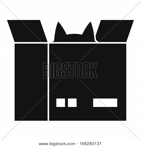 Cat in a cardboard box icon. Simple illustration of cat in a cardboard box vector icon for web design