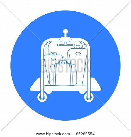 Luggage cart icon isolated on white background. Hotel symbol vector illustration.