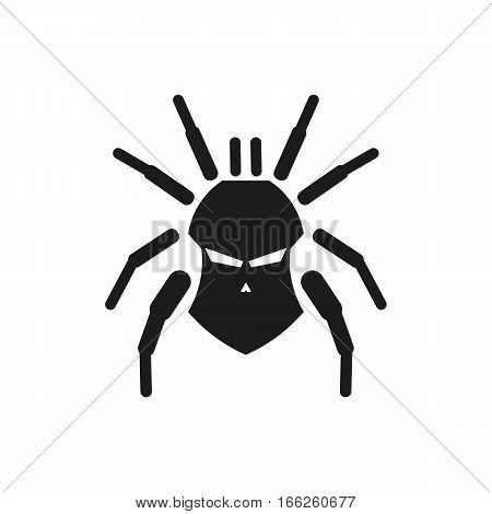 Tarantula Skull Silhouette Logo Design. Isolated in White Background.
