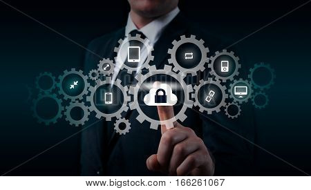Protect cloud information data concept. Security and safety of cloud data.