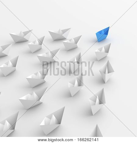 Leadership concept blue leader boat leading white. 3D rendering.