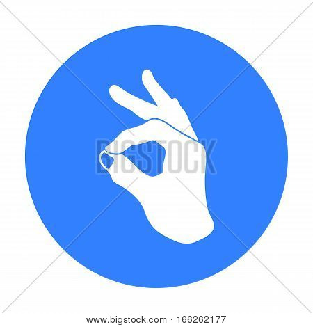 Okay sign icon in blue style isolated on white background. Hand gestures symbol vector illustration.