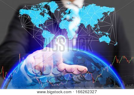 Global business conceptual and finance concept with businessman turn on power switch to connect people network communication with digital world map money and graph chart diagram