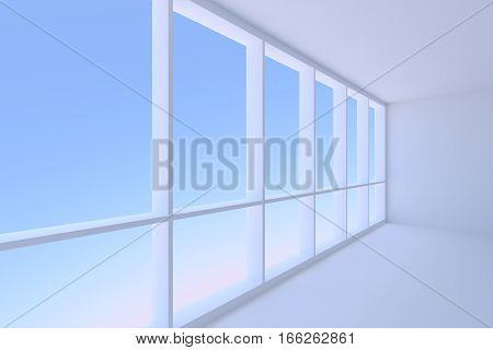 Business architecture office room interior - corner of empty blue business office room with floor ceiling walls and large window with morning blue sky light 3d illustration closeup view