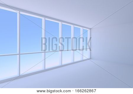 Business architecture office room interior - corner of empty blue business office room with floor ceiling walls and large window with morning blue sky light 3d illustration
