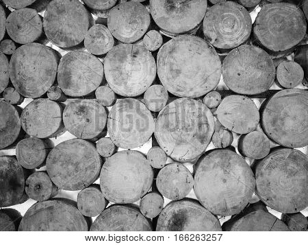 black and white of stack wooden wall texture background, wall to cut down the tree. Wall decorated with cut down a tree