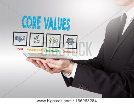 Core Values concept, young man holding a tablet computer.